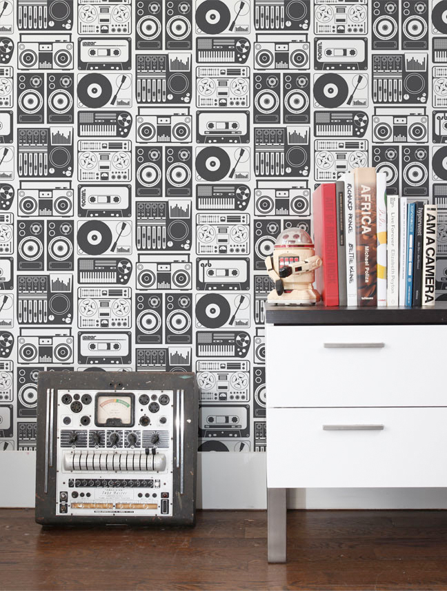 Analog Nights $180.00 Charcoal http://aimeewilder.com/collections/wallpapers/products/analog-nights