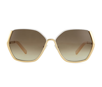 Chloe Universal Fit Danae Hexagon Butterfly Sunglasses in Gold/White, Neiman Marcus $454.15