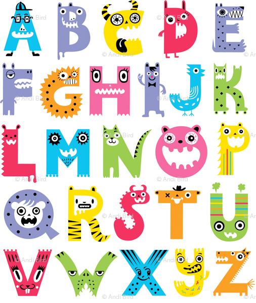 Alphabet Monster Wallpaper by Andibird, Spoon Flower http://www.spoonflower.com/wallpaper/1899008