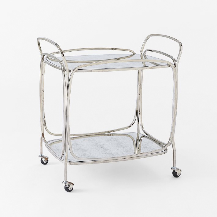 Foxed Mirror Bar Cart, West Elm