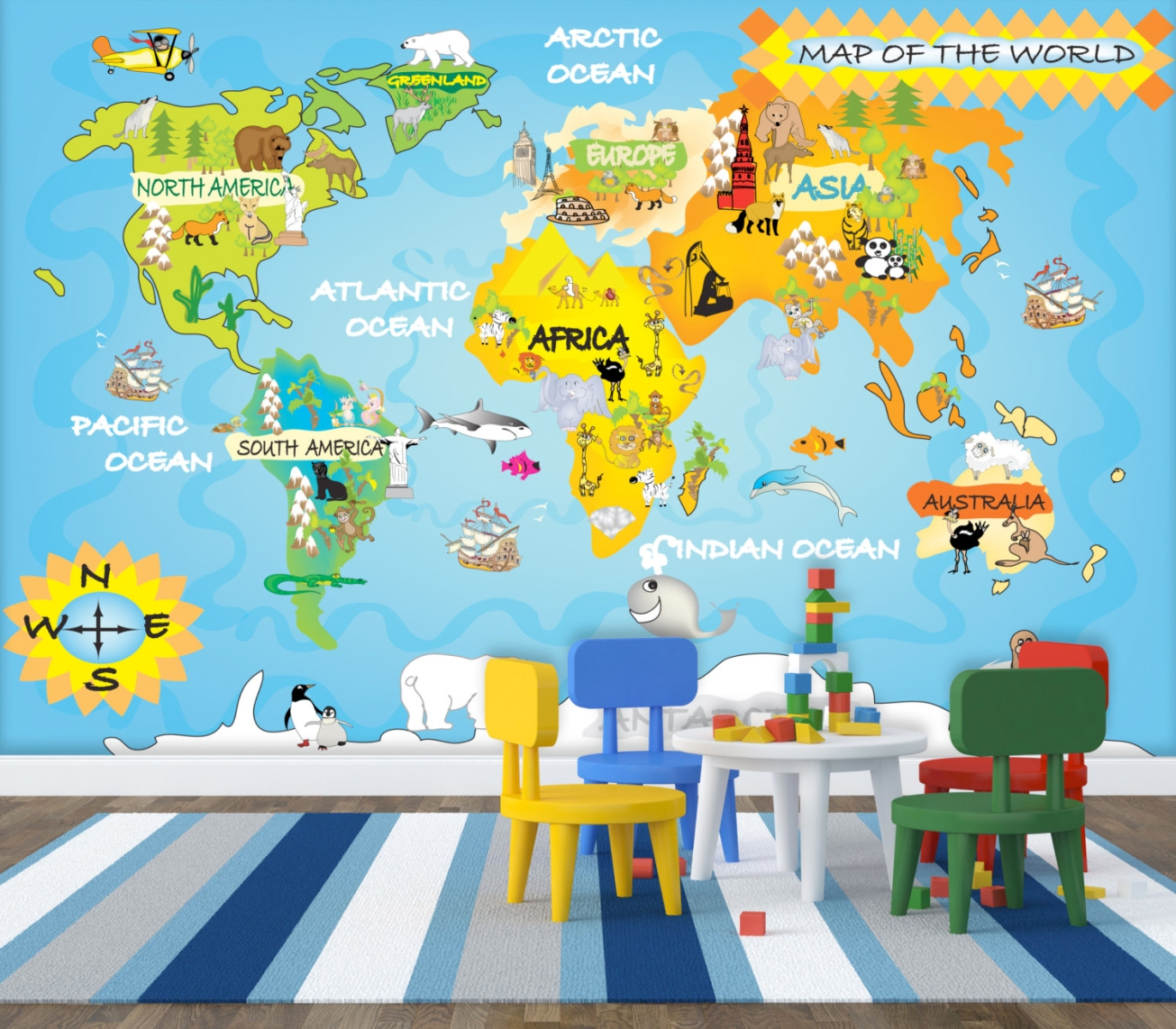 Kids map wall mural by StyleAWall, Etsy https://www.etsy.com/ca/listing/170744667/kids-map-wall-mural-repositionable-peel?ref=sr_gallery_1&ga_search_query=kids+map+wallpaper&ga_search_type=all&ga_view_type=gallery French Bull City Wall Decals By WallCandy, 2Modern http://www.2modern.com/products/french-bull-city-wall-decals