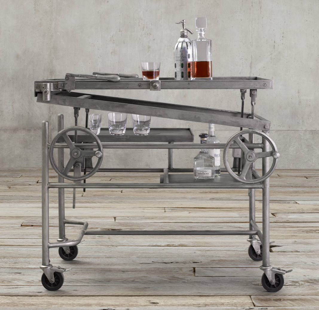 French Crank-Life Bar Cart, Restoration Hardware