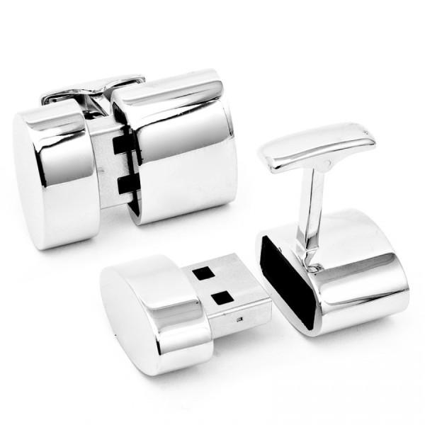 Ravi Ratan - Polished Silver Oval WIFI and 2GB USB Combination Cufflinks - $250