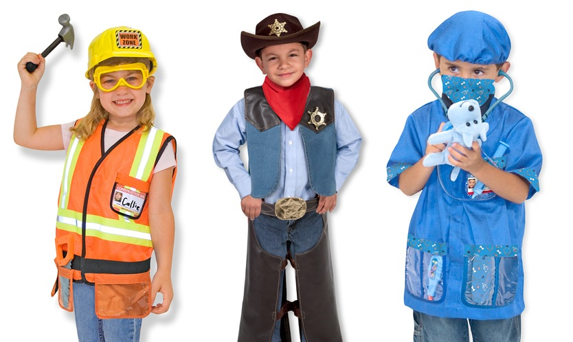 A variety of costumes by Melissa & Doug for role play fun