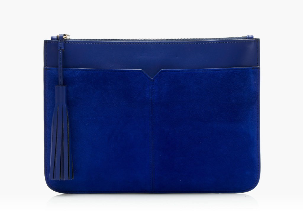 Suede and leather tassel clutch, J.Crew $162